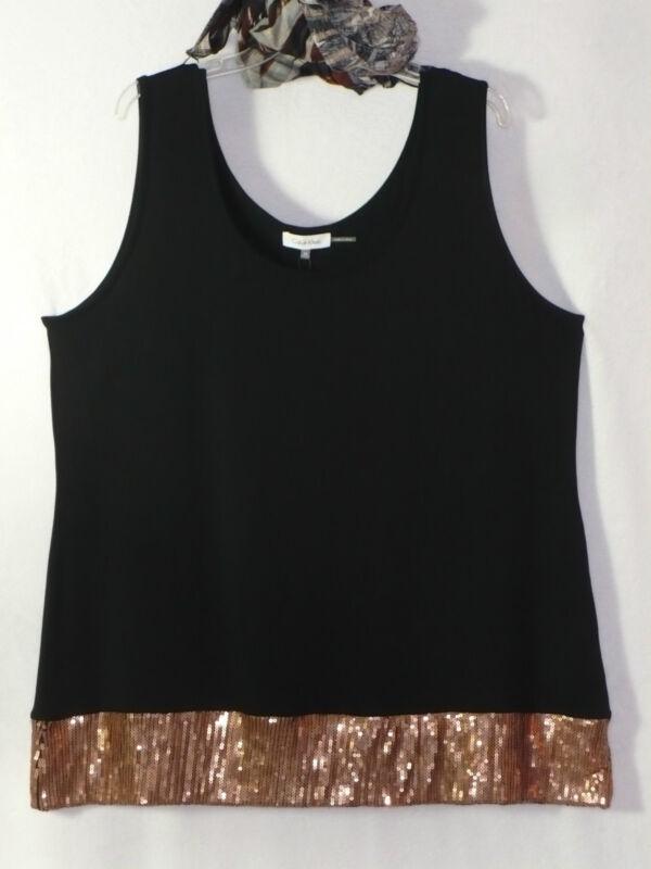 Calvin Klein Woman 2X 2Pc Layer Tank Top Shirt Set Rose Gold Sequin Edgy NWT New