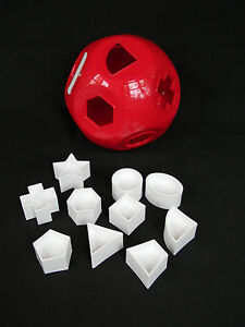 Tupperware Shape o Toy Ball Child's Gift Red & White Shapes #'s Learning Toy NEW