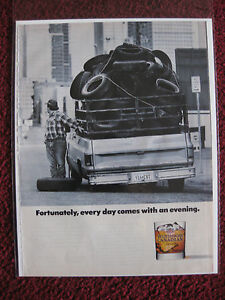 1991-Print-Ad-Windsor-Canadian-Whiskey-Pickup-Truck-Full-of-Tires-w-Flat-Tire