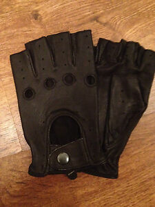 NEW* MENS FINGERLESS DRIVING GLOVES SOFT GENUINE REAL LEATHER MOTOR BIKE FASHION