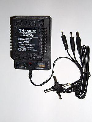 Universal AC/DC Power Adapter Output 1.5-3-4.5-6-7.5-9-12 V 1000 mA 2 Sony Plugs