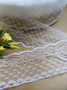 2-5-8-White-Embroidered-Metallic-Gold-Flower-Netting-Lace-Trims-3-Yards-T012