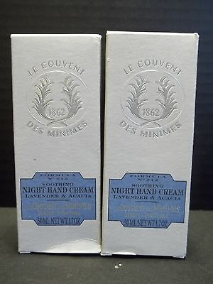 Le Couvent Lavender Acacia Soothing Night Hand Cream 1.7 Oz. In Box X 2