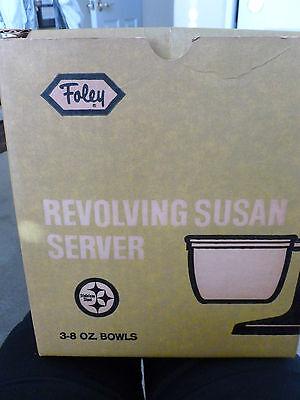 Vintage Foley Revolving Susan Server - Black With Wood Handle - Stainless -
