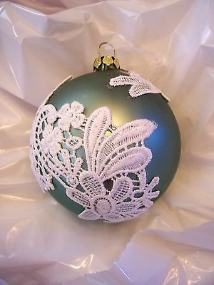 Mint Green Glass Ball With Lace Christmas Ornament Jc Pennys Decoration