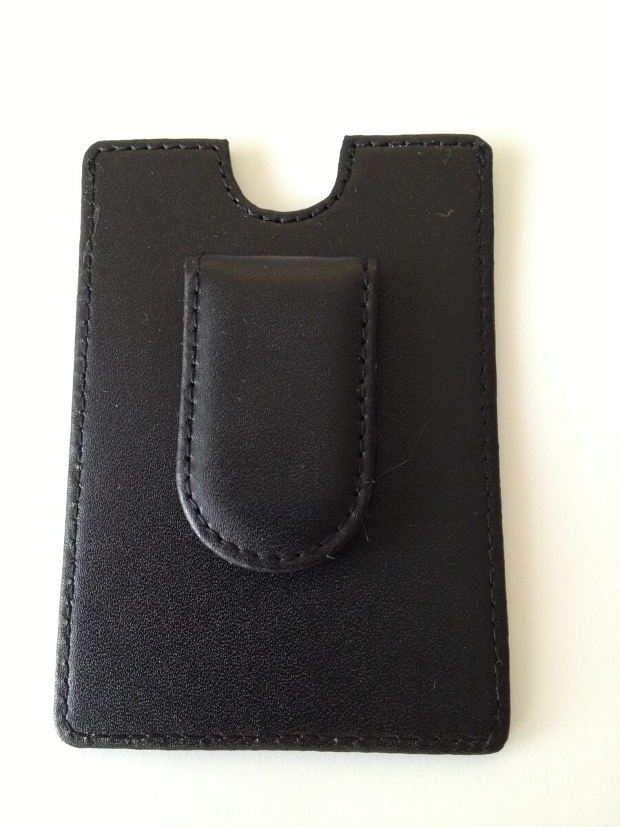 Leather Money Clip with Magnetic Clasp and Credit Card Holder Black New in Box