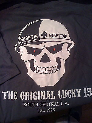 LAPD Los Angeles Police Shootin Newton Original Lucky 13 T-shirts