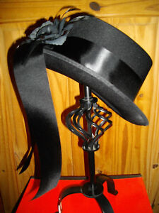 Ladies SATIN Style Riding Top Hat Blk flower & tails Victorian SteamPunk Whitby