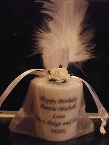 PERSONALISED FEATHER CANDLE BIRTHDAY OR CHRISTMAS GIFT MUM NANNY GRANDMA FRIEND
