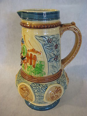 """Vintage Japanese Hand Painted Porcelain/Pottery """"K"""" Kyoto Pitcher, 10 1/4"""" Tall"""