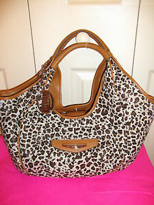 110-KATHY-VAN-ZEELAND-Vagabond-Shopper-Leopard-Cheetah-Hobo-Handbag-Tote-Bag