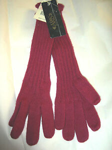 Vtg Aris Knit mauve ribbed acrylic/nylon long elbow gloves 1 size NWT