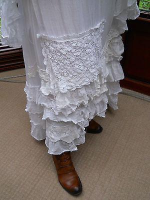 Ritanotiara Long Gypsy Maxi Osfa White Boho Vintage Lace Cotton Skirt Rodeo Mori