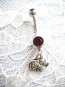 NEW-3D-LUCKY-ELEPHANT-w-FLOWER-CHARM-ON-14G-DEEP-PURPLE-CZ-BELLY-BUTTON-RING-BAR