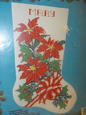 Bucilla Cross Stitch poinsettias 18 Christmas Stocking Customizable Craft Supplies