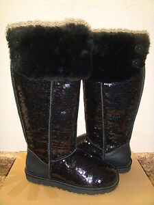 UGG-OVER-THE-KNEE-BAILEY-BUTTON-SPARKLES-BLACK-US-9-EU-40-UK-7-5