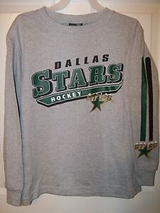 Dallas-Stars-Hockey-Gray-Long-Sleeve-Shirt-Boys-Size-14-16-NWT