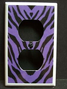 ZEBRA STRIPES PURPLE AND BLACK #1  LIGHT SWITCH OR OUTLET COVER