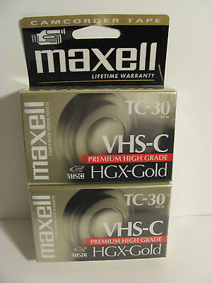 Maxell Comcorder Tapes Tc-30 Premium High Grade Hgx-gold 2 Pack In Pack