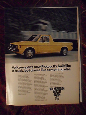 1980 Print Ad Volkswagen VW Yellow Pickup Truck ~ Drives Like Something Else