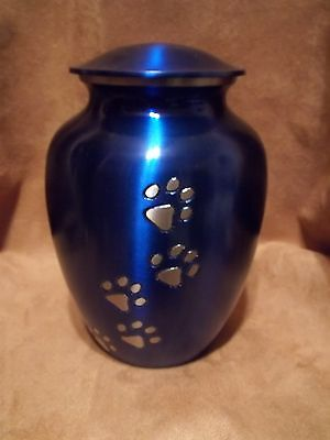 "Vibrant Blue wPewter Paw Print Brass Pet Urn~6"" ~ 43 lbs on Rummage (1/1)"