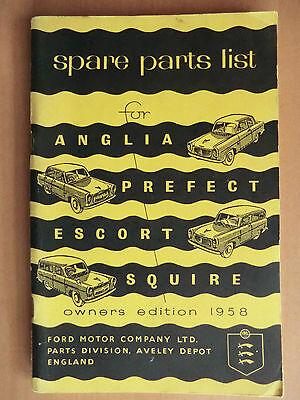 Ersatzteilliste Spare Parts List FORD ANGLIA PREFECT ESCORT SQUIRE EDITION 1958
