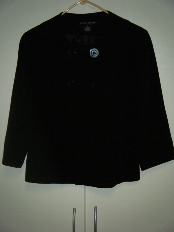 WOMENS LARRY LEVINE BLACK DOUBLE BREASTED JACKET WITH 3/4 SLEEVE SIZE SMALL