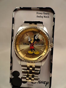 Disney Mickey mouse Men watch,two tone ,DAY/DATE,New/warranty +Free Gift