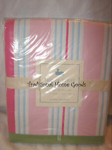 NEW-POTTERY-BARN-KIDS-PINK-PARKER-STRIPE-SHOWER-BATH-CURTAIN