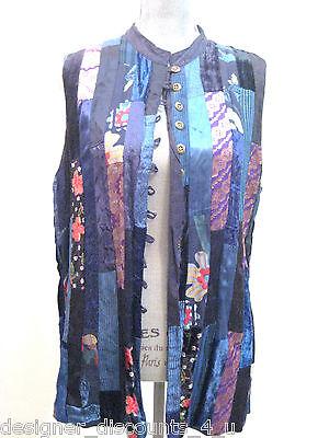 Papillon Hobo Chic Fun Art To Wear Navy Purple Top Shirt Vest Size Retro M