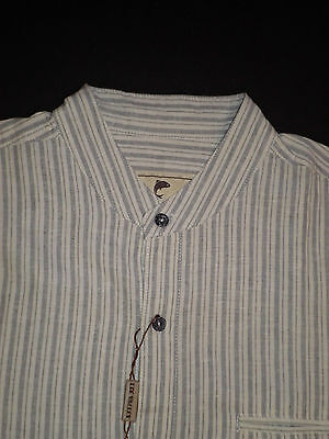 Lee Valley Gray Striped Irish Grandfather Collar Shirt Linen Cotton Blend