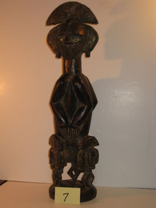 "GABON AFRICA 24"" RELIQUARY CARVED WOOD STATUE **COPPER WRAP 19th Century WARRIOR"