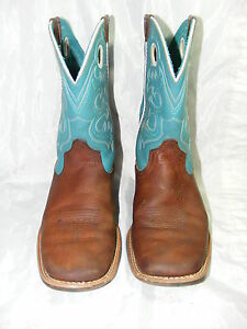 ariat boots brown teal size 4 leather cowboy fatbaby