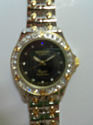 NEW ARRIVAL - MIYKON QUARTZ  WOMEN'S WATCH CRYSTAL BEZEL WATER PROOF TWO TONE! on Rummage