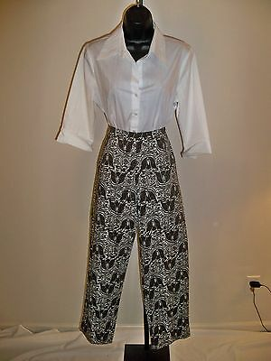 Saks Fifth Avenue Karen Fit Brown Print Stretch Pants 8 $135 Awesome