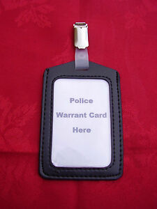 Black-ID-Pass-Warrant-Card-Badge-Holder-Plastic-Metal-Belt-Clip-POLICE-CO19-P