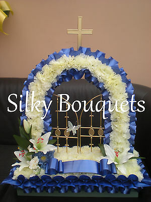 Artificial Silk funeral Flowers Gates of Heaven Wreath Memorial Tribute Dad Mum