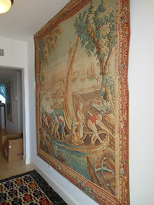 Antique french tapestry almost 8 feet long and almost 7 foot wide