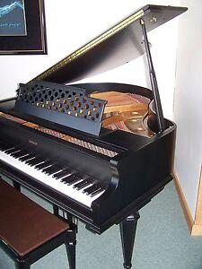 Kimball baby grand piano satin ebony black finish with for Yamaha black baby grand piano