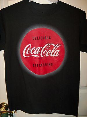 Coca Cola Coke Logo Black Short Sleeve Shirt Mens Size Small