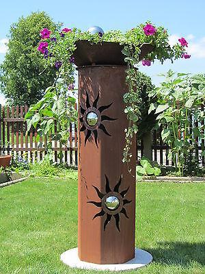 8eck säule edelstahl kugeln sonne edelrost rost deko gartendeko, Garten und Bauten