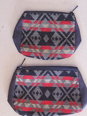 Southwestern Design Red, Black, Blue Cosmetic, Jewelry Or Multi-use Bags - 2
