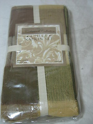Tradewinds Collection Beverly Check Plaid (4) Napkins Olive Tan Brown Gold