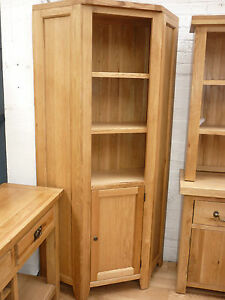 VANCOUVER FURNITURE SOLID OAK TALL CORNER UNIT NB095 WITH 5 SHELVES