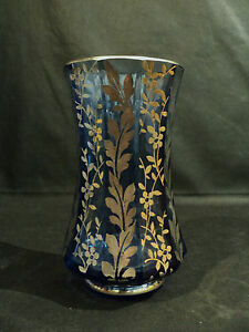GORGEOUS-MOSER-BLUE-10-SIDED-GLASS-VASE-w-STERLING-SILVER-OVERLAY-DECORATION