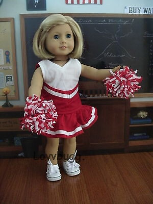 "Lovvbugg Red Cheerleader for 18"" American Girl and Bitty Baby Doll Clothes"