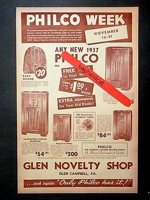 "original 1937 PHILCO RADIO AD #2 from RADIO STORE in GLEN CAMPBELL, PA-11"" X 17"""