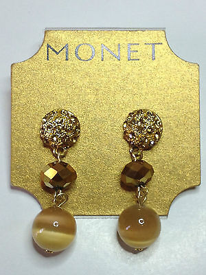 Monet Gold Earrings Cz Sparkling Bead Crystals Gold Tone Dangle $24