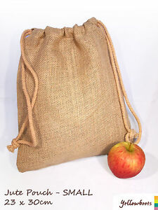 Jute Hessian Gift Storage Pouch Sack Drawstring Bag - 2 Sizes