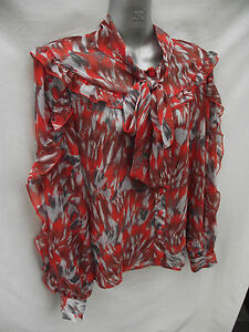 BNWT-Ladies-UK-Sz-18-Grey-Red-F-F-Brand-Silky-Feel-Dressy-Tie-Neck-Shirt-RRP-40
